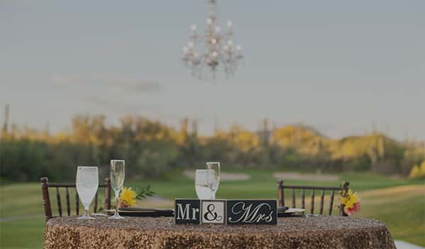outside table with reception setting